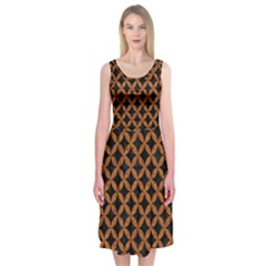 Circles3 Black Marble & Rusted Metal (r) Midi Sleeveless Dress