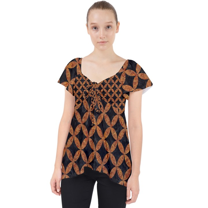 CIRCLES3 BLACK MARBLE & RUSTED METAL (R) Lace Front Dolly Top