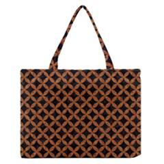 Circles3 Black Marble & Rusted Metal (r) Zipper Medium Tote Bag