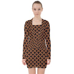 Circles3 Black Marble & Rusted Metal (r) V Neck Bodycon Long Sleeve Dress