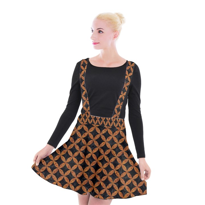 CIRCLES3 BLACK MARBLE & RUSTED METAL (R) Suspender Skater Skirt