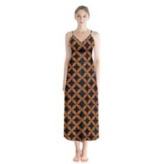 Circles3 Black Marble & Rusted Metal (r) Button Up Chiffon Maxi Dress