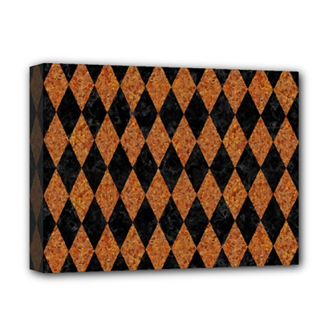 Diamond1 Black Marble & Rusted Metal Deluxe Canvas 16  X 12