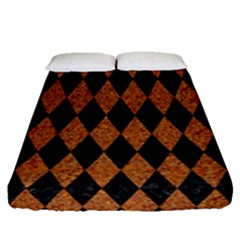 Diamond1 Black Marble & Rusted Metal Fitted Sheet (queen Size)