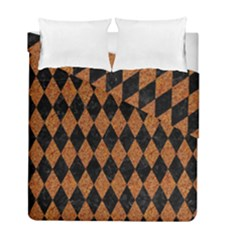 Diamond1 Black Marble & Rusted Metal Duvet Cover Double Side (full/ Double Size)