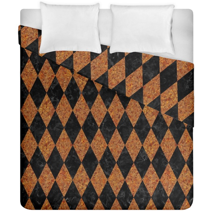 DIAMOND1 BLACK MARBLE & RUSTED METAL Duvet Cover Double Side (California King Size)