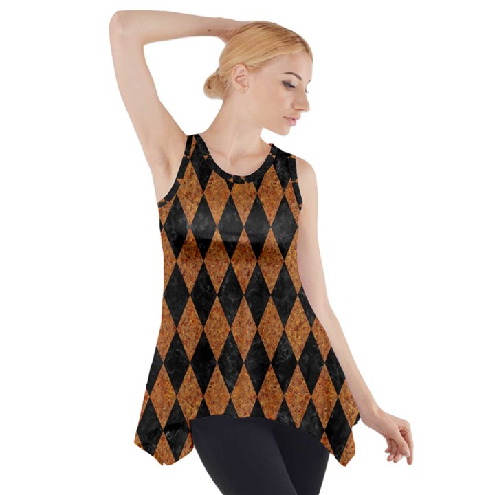 DIAMOND1 BLACK MARBLE & RUSTED METAL Side Drop Tank Tunic