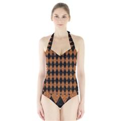 Diamond1 Black Marble & Rusted Metal Halter Swimsuit