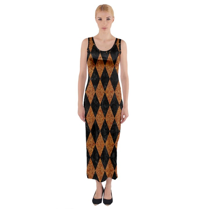 DIAMOND1 BLACK MARBLE & RUSTED METAL Fitted Maxi Dress