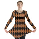 DIAMOND1 BLACK MARBLE & RUSTED METAL Long Sleeve Tunic  View1