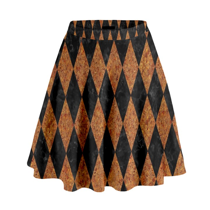 DIAMOND1 BLACK MARBLE & RUSTED METAL High Waist Skirt