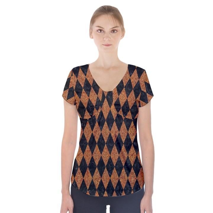 DIAMOND1 BLACK MARBLE & RUSTED METAL Short Sleeve Front Detail Top