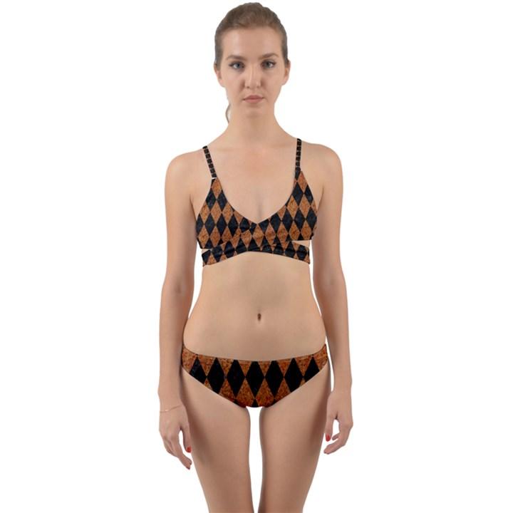 DIAMOND1 BLACK MARBLE & RUSTED METAL Wrap Around Bikini Set