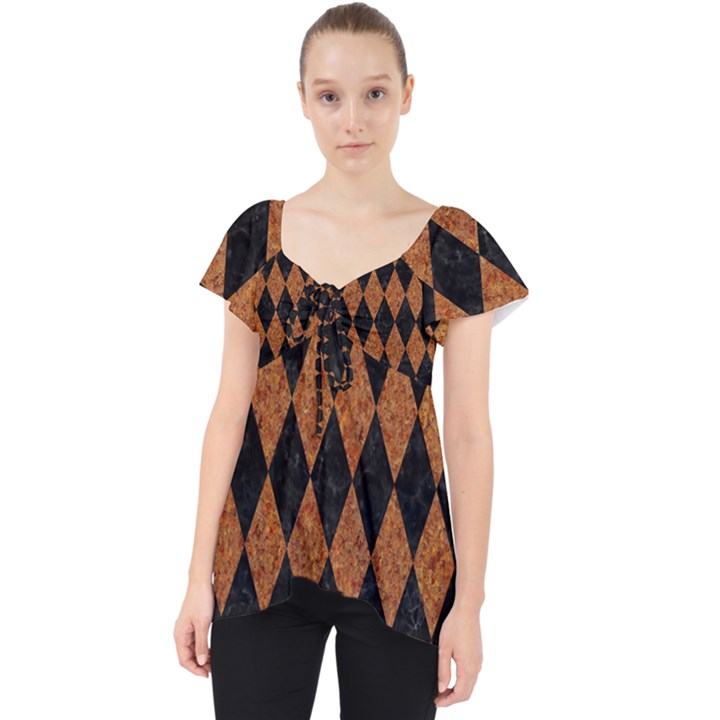 DIAMOND1 BLACK MARBLE & RUSTED METAL Lace Front Dolly Top
