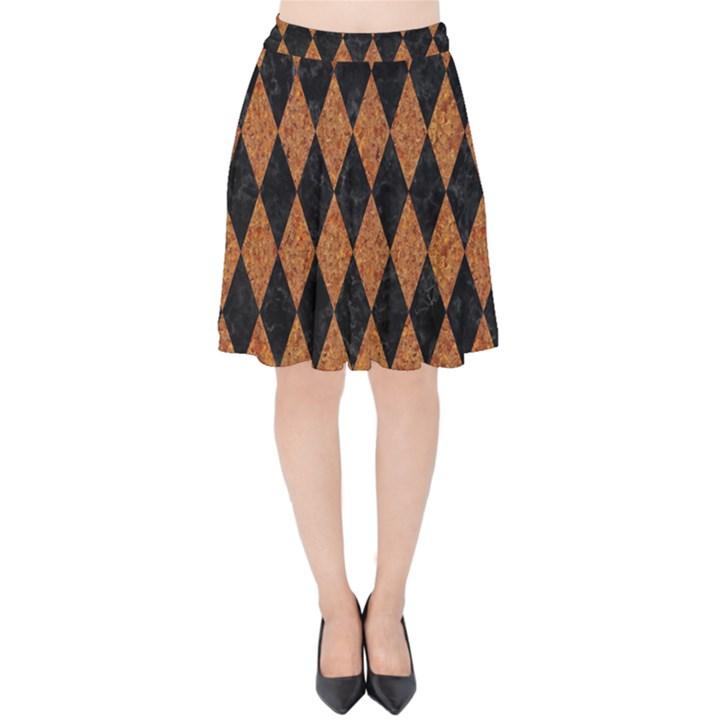 DIAMOND1 BLACK MARBLE & RUSTED METAL Velvet High Waist Skirt