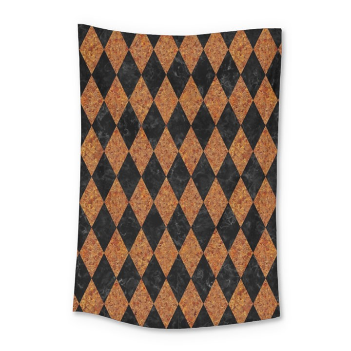 DIAMOND1 BLACK MARBLE & RUSTED METAL Small Tapestry
