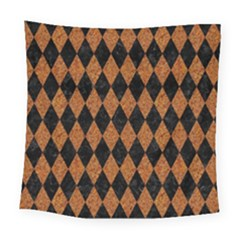 Diamond1 Black Marble & Rusted Metal Square Tapestry (large)