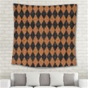 DIAMOND1 BLACK MARBLE & RUSTED METAL Square Tapestry (Large) View2