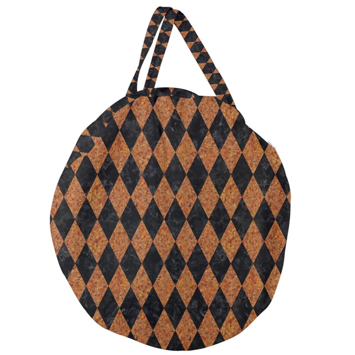 DIAMOND1 BLACK MARBLE & RUSTED METAL Giant Round Zipper Tote