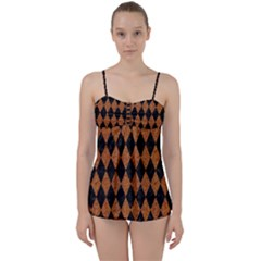 Diamond1 Black Marble & Rusted Metal Babydoll Tankini Set