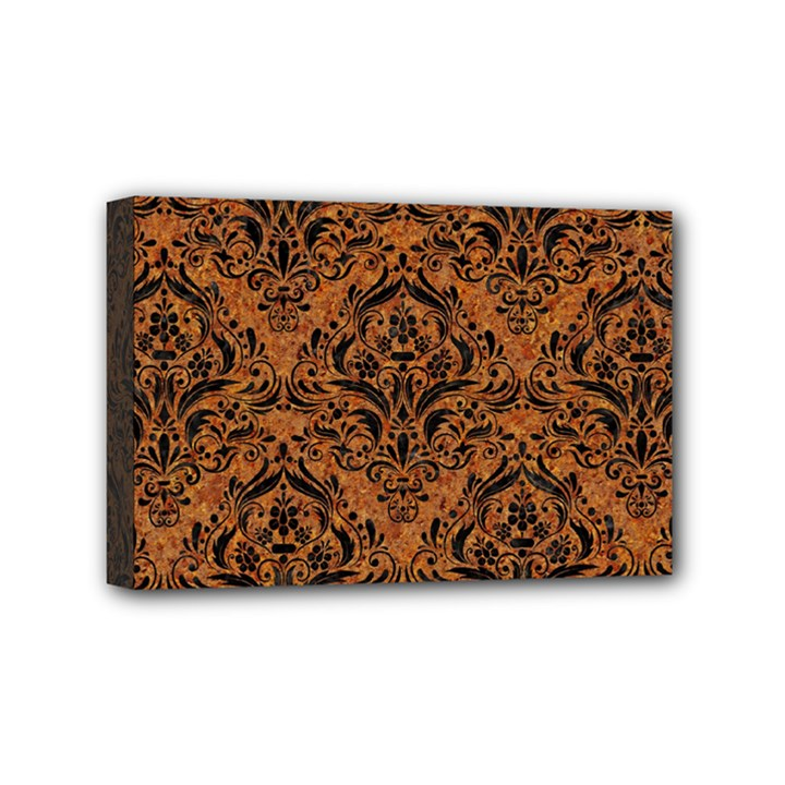 DAMASK1 BLACK MARBLE & RUSTED METAL Mini Canvas 6  x 4