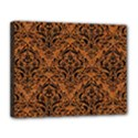 DAMASK1 BLACK MARBLE & RUSTED METAL Canvas 14  x 11  View1