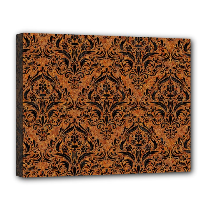 DAMASK1 BLACK MARBLE & RUSTED METAL Canvas 14  x 11
