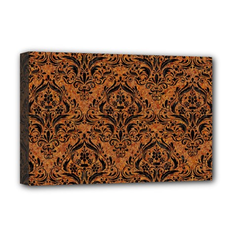 Damask1 Black Marble & Rusted Metal Deluxe Canvas 18  X 12