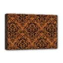 DAMASK1 BLACK MARBLE & RUSTED METAL Deluxe Canvas 18  x 12   View1