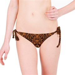 Damask1 Black Marble & Rusted Metal Bikini Bottom