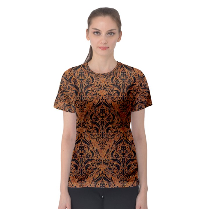DAMASK1 BLACK MARBLE & RUSTED METAL Women s Sport Mesh Tee