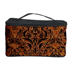 Damask1 Black Marble & Rusted Metal Cosmetic Storage Case
