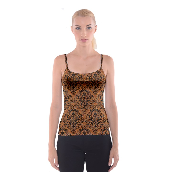 DAMASK1 BLACK MARBLE & RUSTED METAL Spaghetti Strap Top
