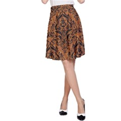 Damask1 Black Marble & Rusted Metal A Line Skirt