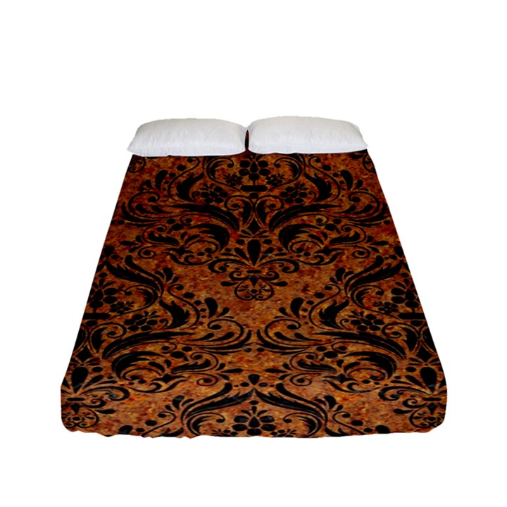 DAMASK1 BLACK MARBLE & RUSTED METAL Fitted Sheet (Full/ Double Size)