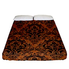 Damask1 Black Marble & Rusted Metal Fitted Sheet (queen Size)