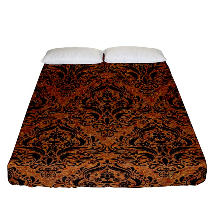 DAMASK1 BLACK MARBLE & RUSTED METAL Fitted Sheet (California King Size)