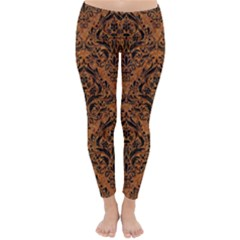 Damask1 Black Marble & Rusted Metal Classic Winter Leggings