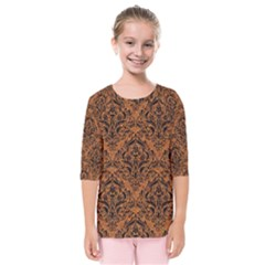 Damask1 Black Marble & Rusted Metal Kids  Quarter Sleeve Raglan Tee