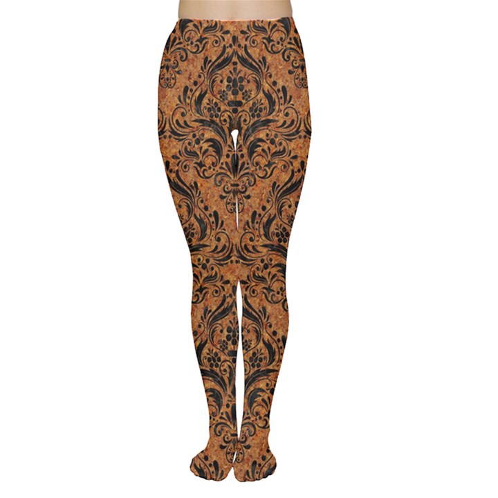 DAMASK1 BLACK MARBLE & RUSTED METAL Women s Tights