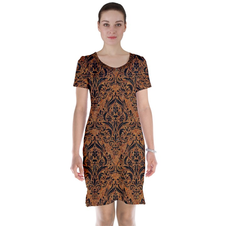 DAMASK1 BLACK MARBLE & RUSTED METAL Short Sleeve Nightdress