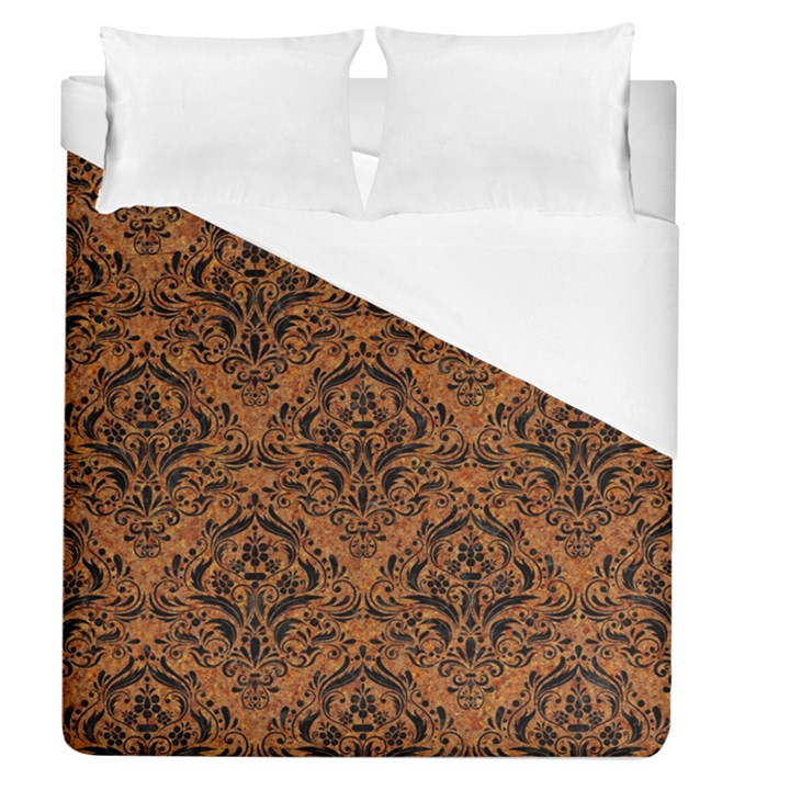 DAMASK1 BLACK MARBLE & RUSTED METAL Duvet Cover (Queen Size)