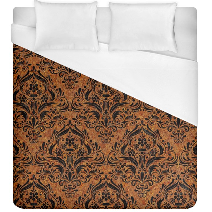 DAMASK1 BLACK MARBLE & RUSTED METAL Duvet Cover (King Size)