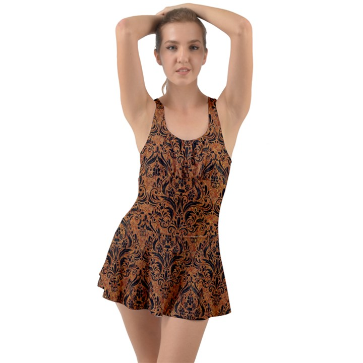 DAMASK1 BLACK MARBLE & RUSTED METAL Swimsuit