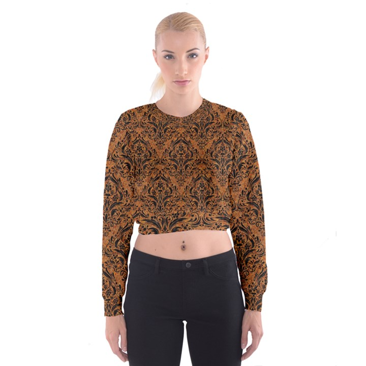 DAMASK1 BLACK MARBLE & RUSTED METAL Cropped Sweatshirt