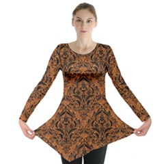 Damask1 Black Marble & Rusted Metal Long Sleeve Tunic