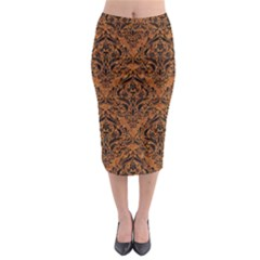 Damask1 Black Marble & Rusted Metal Midi Pencil Skirt