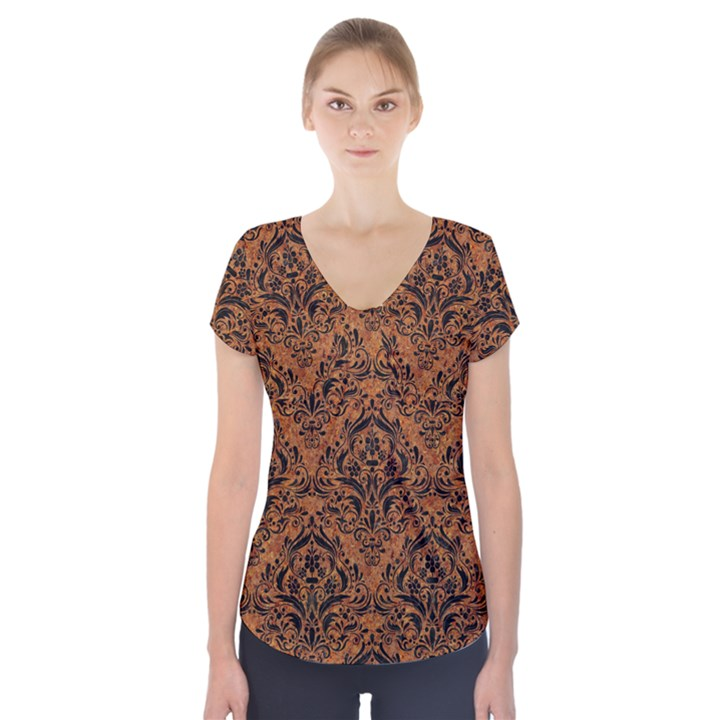 DAMASK1 BLACK MARBLE & RUSTED METAL Short Sleeve Front Detail Top