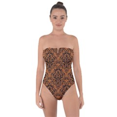Damask1 Black Marble & Rusted Metal Tie Back One Piece Swimsuit