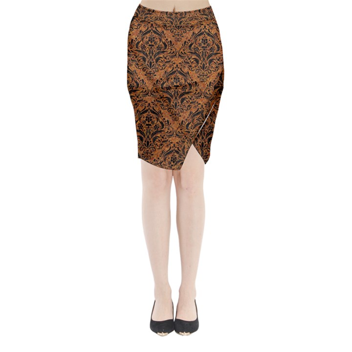 DAMASK1 BLACK MARBLE & RUSTED METAL Midi Wrap Pencil Skirt